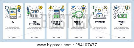Web Site Onboarding Screens. Job Interview And Cv. Working Hours And Overtime Salary. Menu Vector Ba