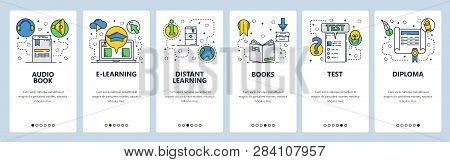 Web Site Onboarding Screens. Online Education And E-learning. Books, Exams And Diploma. Menu Vector