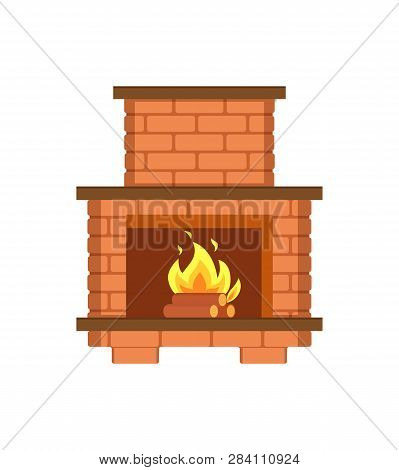 Fireplace Paved With Bricks Shelf For Items Isolated Icon Vector. Redbrick Construction, Installed C