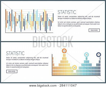 Statistics Charts And Diagrams Visual Data Web Vector. Webpage With Text Sample, Graphics And Scheme