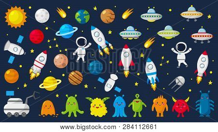 Big Set Of Cute Astronauts In Space, Planets, Stars, Aliens, Rockets, Ufo, Constellations, Satellite