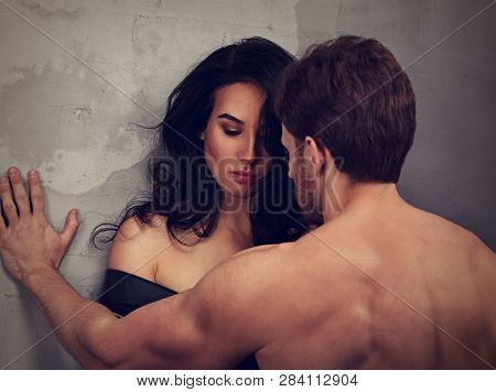 Guilty Disappointed Beautiful Woman Hugging Her Husband With Thinking Sad Eyes . Closeup Drama Portr
