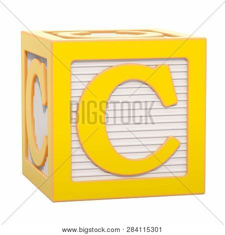Abc Alphabet Wooden Block With C Letter. 3d Rendering Isolated On White Background