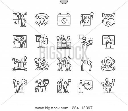 Nisan National Sovereignty And Childrens Day Well-crafted Pixel Perfect Vector Thin Line Icons 30 2x