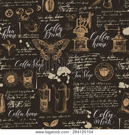Vector Seamless Pattern On Tea And Coffee Theme In Retro Style. Various Coffee Symbols, Butterfly, B