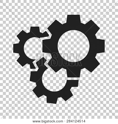 Gear Vector Icon In Flat Style. Cog Wheel Illustration On Isolated Transparent Background. Gearwheel