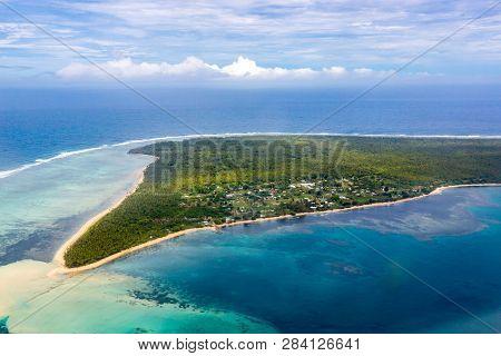 Aerial View Of Rural Uiha Island Near Lifuka, The Haapai Group, Ha'apai, Ha'apai Islands, Kingdom Of
