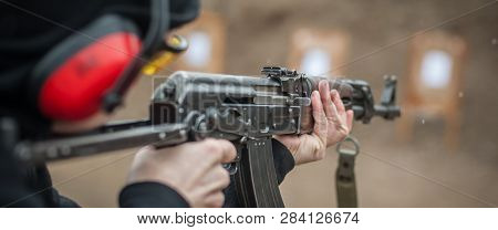 Combat Riffle Machine Gun Shooting Training From Behind And Around Cover Or Barricade. Advanced Figh