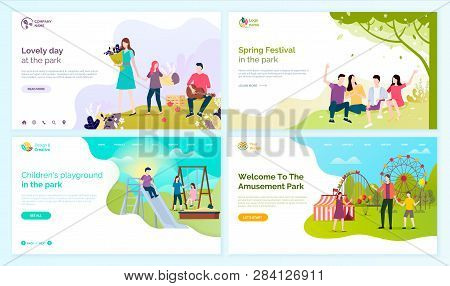 Lovely Day At Park, Spring Festival, Children Playground And Welcome To Amusement Festival Vector Ca