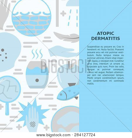 Atopic Dermatitis Concept Background In Flat Style With Place For Text