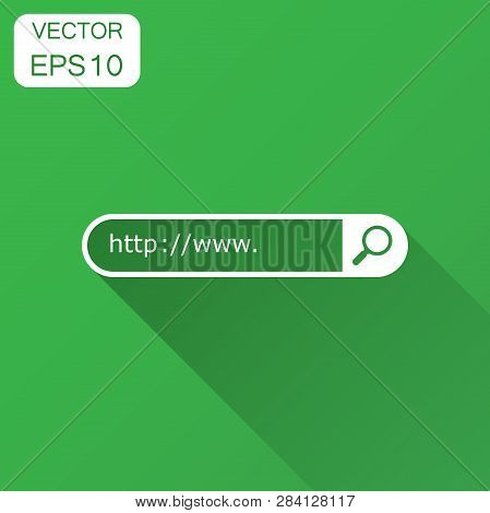 Address and navigation bar icon. Vector illustration with long shadow. Business concept search www http pictogram. poster
