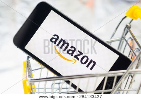 Online Shopping Amazon Company Logo Online Store On The Phone Screen Close-up