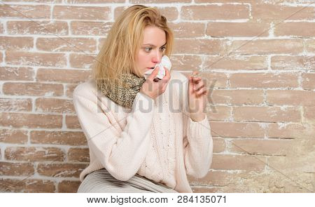 Being Ill With Fever. Unhealthy Pretty Woman Suffering From Fever Heat. Sick Woman Holding Fever The