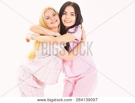 Girls Hugging Tight, Isolated On White Background. Sisters Best Friends Concept. Sisters Or Best Fri