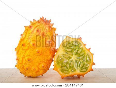 Kiwano Fruit, Also Known As Cucumis Metuliferus, Horned Melon, Or African Horned Cucumber Sitting On
