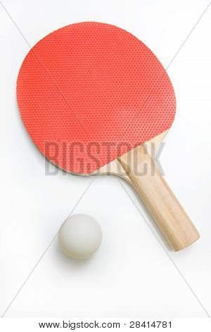 Ping Pong Padd and White Ball Isolated