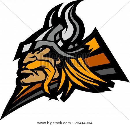 Viking Norseman with Helmet Graphic Mascot Vector Image poster