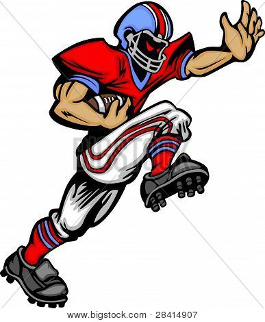 Football Player Runningback Vector Cartoon