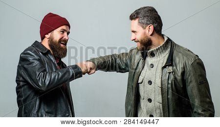 Real Friendship Mature Friends. Male Friendship Concept. Brutal Bearded Men Wear Leather Jackets. Re