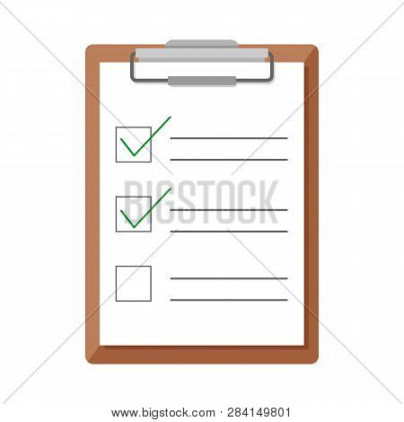 Clipboard And Checklist In Flat Design. Clipboard Isolated On White Background. Check Marks Concept.