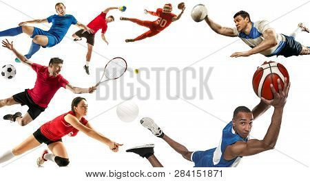 Attack. Sport Collage About Soccer, American Football, Basketball, Volleyball, Tennis, Rugby, Handba