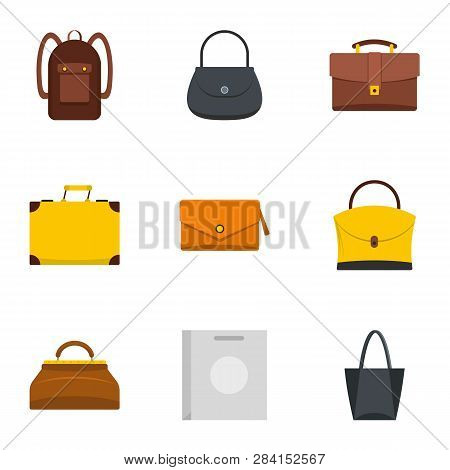 Different Bagage Icon Set. Flat Style Set Of 9 Different Bagage Icons For Web Isolated On White Back