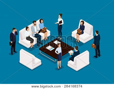 Business People Isometric Set Of Men And Women In Corporate Attire Meeting, Brainstorming Isolated O