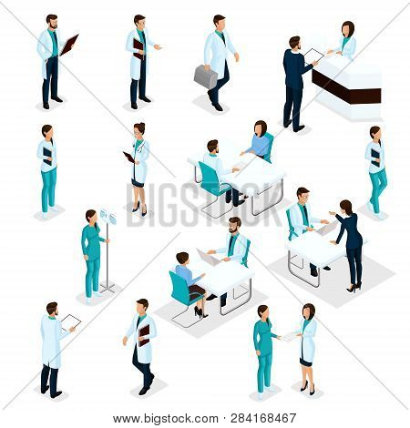 Set Isometric Doctors Hospital Staff Nurse 3d Surgeons And Patients. Health Experts Hospital Isolate