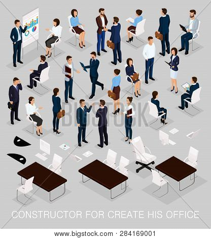 Business People Isometric Kit For Creating Your Office With The Men And Women In Corporate Attire Is