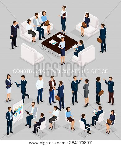 Business People Isometric Set To Create His Illustrations Meeting With Men And Women In Corporate At