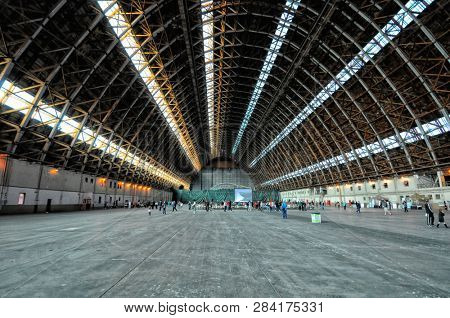 TUSTIN, CALIFORNIA: APRIL 15, 2013: Interior of Blimp Hangar #1 at the former Marine Corps Air Station Tustin, on visitors day.