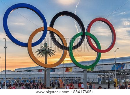 Sochi, Russia - February 23, 2014: Colorful Olympic Rings Structure Adorns Entrance Square Of Olympi