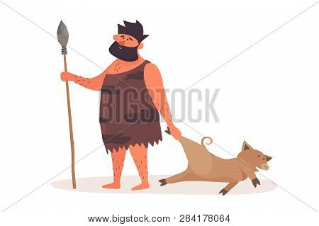 Primitive Man Came From Hunting With Prey. Prehistoric Man Dressed In Pelt On A White Isolated Backg