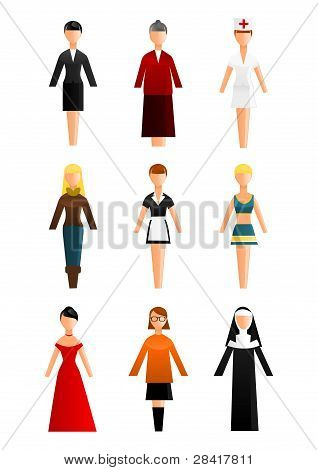 Collection of women occupation icons