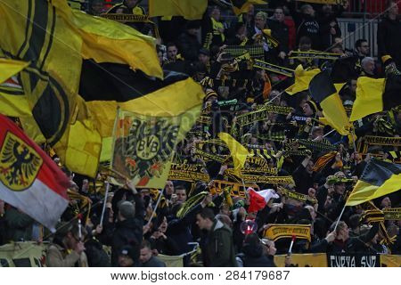 LONDON, ENGLAND - FEBRUARY 13 2019: Preview image of Borussia Dortmund flags during the Champions League match between Tottenham Hotspur and Borussia Dortmund at Wembley Stadium, London.