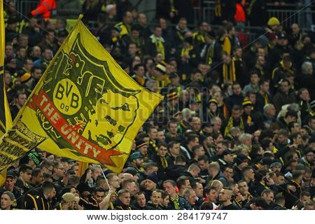 LONDON, ENGLAND - FEBRUARY 13 2019: Borussia Dortmund flag during the Champions League match between Tottenham Hotspur and Borussia Dortmund at Wembley Stadium, London.