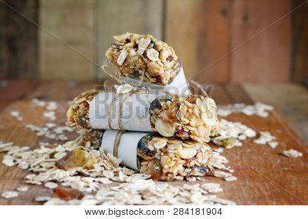 Homemade Granola Energy Bars With Figs, Oatmeal, Almond, Dry Cranberry,  Dates, Nuts, Raisins, Sesam