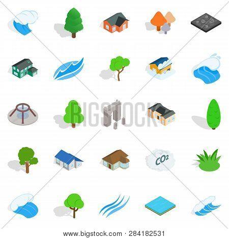 Member Icons Set. Isometric Set Of 25 Member Icons For Web Isolated On White Background