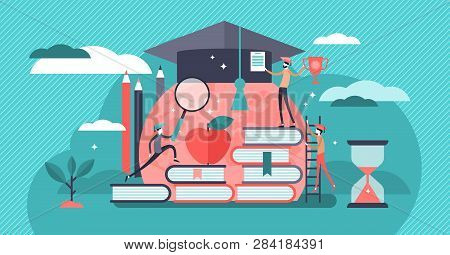 Education Vector Illustration. Tiny Knowledge Learning Person Concept. School, University And Colleg