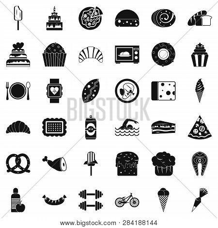 Calories in food icons set. Simple style of 36 calories in food icons for web isolated on white background poster