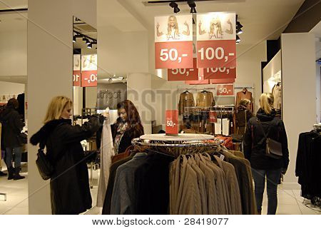 DENMARK / COPENHAGEN _ Female consumers in earch for new year sale at various textile and fashion stores to boost danish economy 2012 today on 2 jan. 2012 (