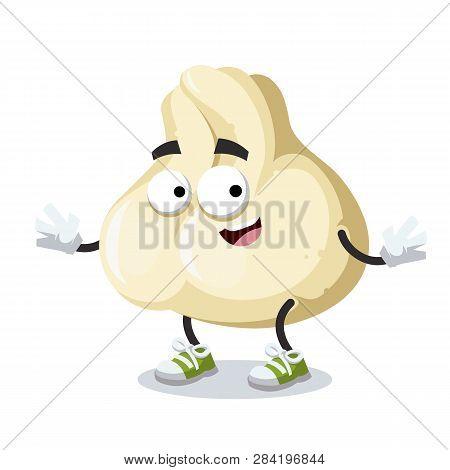 Cartoon Happy Baozi Dumplings With Meat Mascot Smiling