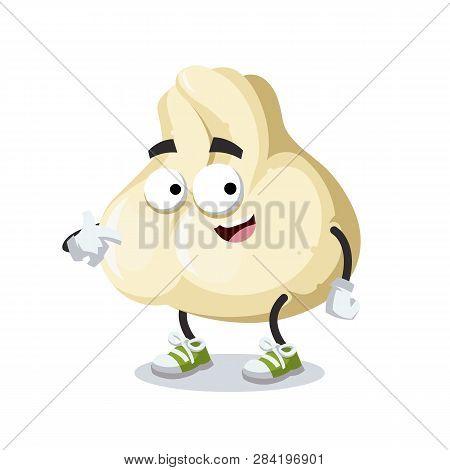 Cartoon Baozi Dumplings With Meat Mascot Showing Himself