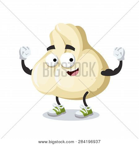 Cartoon Baozi Dumplings With Meat Mascot Shows Its Strength