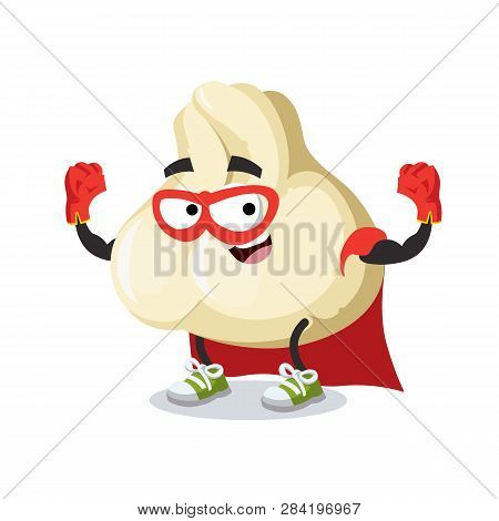 Superhero Cartoon Baozi Dumplings With Meat Character Mascot In Sneakers