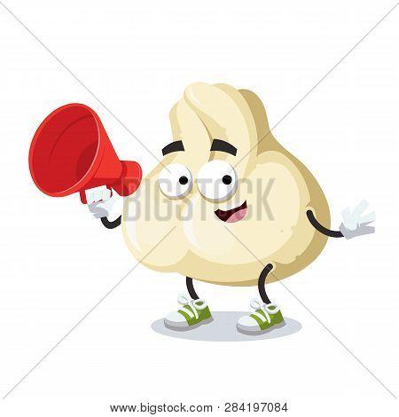 With Megaphone Cartoon Baozi Dumplings With Meat Character Mascot
