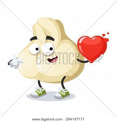 Cartoon Baozi Dumplings With Meat Character Mascot Keeps The Heart