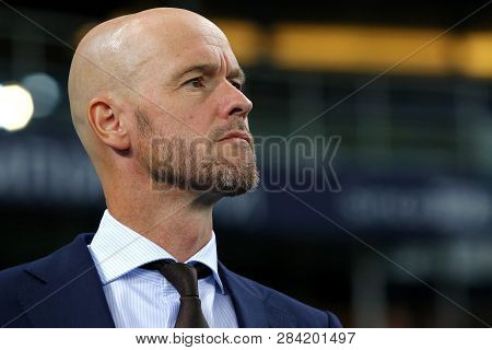 Kyiv, Ukraine - August 28, 2018: Afc Ajax Manager Erik Ten Hag Looks On During The Uefa Champions Le