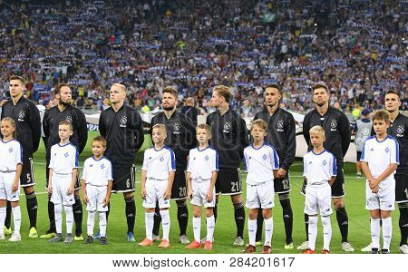 Kyiv, Ukraine - August 28, 2018: Afc Ajax Players Listen To Champions League Anthem Before The Uefa
