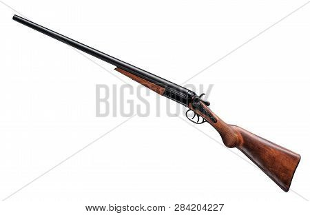 Old Double Barrel Rifle Isolated On Whie Background